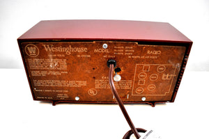 Burgundy Red 1959 Westinghouse Model H545T5A Vintage Tube AM Clock Radio Totally Restored!