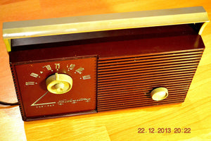 SOLD! - Jan 11, 2014 - RETRO Burgundy Vintage Portable AM 1956 Silvertone 7404 AM Tube Radio Works! - [product_type} - Admiral - Retro Radio Farm