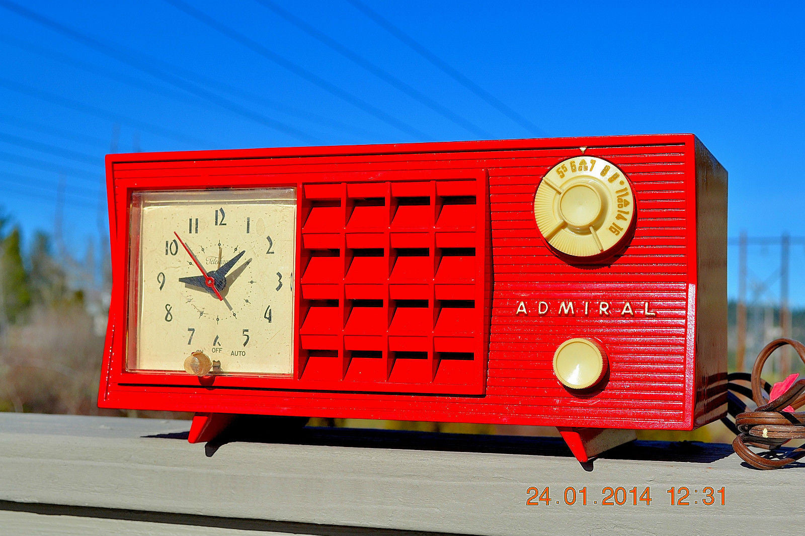 SOLD! - June 17, 2014 - LIPSTICK RED Vintage Atomic Age 1955 Admiral 5S38 Tube AM Radio Clock Alarm - [product_type} - Admiral - Retro Radio Farm