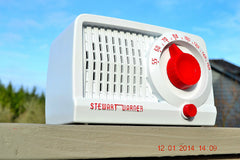 SOLD! - May 21, 2014 - BEAUTIFUL Retro Rare WHITE & RED 1952 Stewart Warner 9160 Tube AM Radio WORKS! , Vintage Radio - Stewart Warner, Retro Radio Farm  - 2