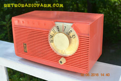 SOLD! - July 2, 2016 - BLUETOOTH MP3 READY - Salmon Pink Retro Mid Century Jetsons Vintage 1958 Philco E-814-124 AM Tube Radio WORKS!