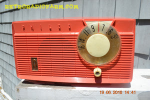SOLD! - July 2, 2016 - BLUETOOTH MP3 READY - Salmon Pink Retro Mid Century Jetsons Vintage 1958 Philco E-814-124 AM Tube Radio WORKS! - [product_type} - Philco - Retro Radio Farm