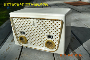 SOLD! - Dec 9, 2016 - BLUETOOTH MP3 READY - Rococo White Retro Vintage 1957 Emerson 850 AM Tube Radio Totally Restored! - [product_type} - Emerson - Retro Radio Farm