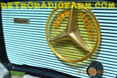 SOLD! - July 12, 2016 - BLUETOOTH MP3 READY - SO JETSONS LOOKING Retro Vintage AQUA and BLACK 1959 Musicaire MD300 AM Tube Radio WORKS!