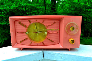 SOLD! - Aug 4, 2017 - ROSE PINK Mid Century Retro 1959 Westinghouse Model H545T5A Tube AM Clock Radio Totally Restored! - [product_type} - Westinghouse - Retro Radio Farm