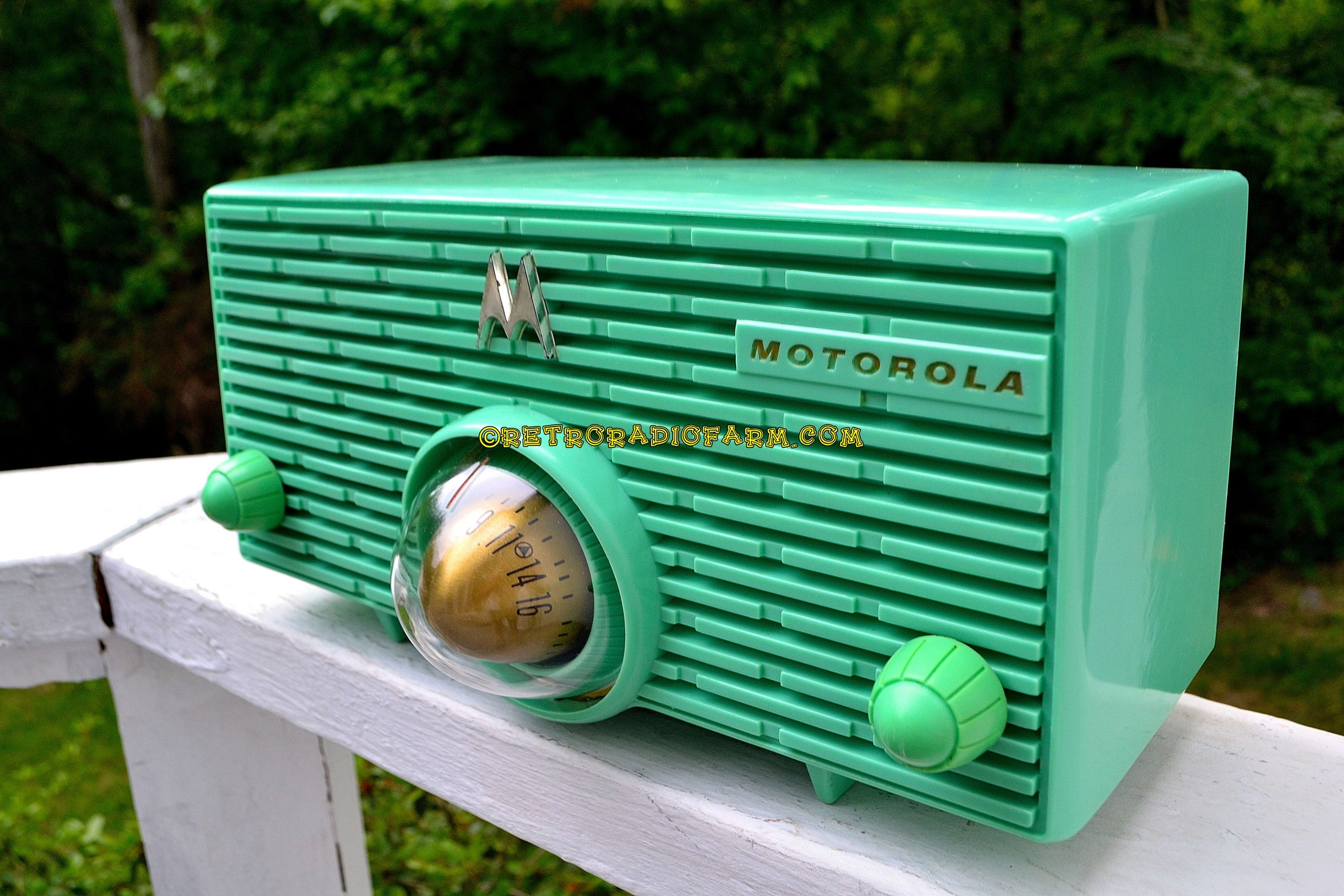 SOLD! - July 29, 2018 - SEA GREEN Mid Century Retro Jetsons 1957 Motorola 56H Turbine Tube AM Radio Works Amazing! - [product_type} - Motorola - Retro Radio Farm