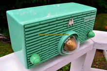 Load image into Gallery viewer, SOLD! - July 29, 2018 - SEA GREEN Mid Century Retro Jetsons 1957 Motorola 56H Turbine Tube AM Radio Works Amazing! - [product_type} - Motorola - Retro Radio Farm