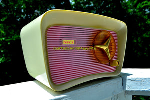 SOLD! - Oct 11, 2017 - SO JETSONS LOOKING Retro Vintage Pink and White 1959 Travler T204 AM Tube Radio So Cute! - [product_type} - Travler - Retro Radio Farm