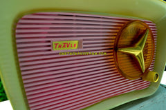 SOLD! - Oct 11, 2017 - SO JETSONS LOOKING Retro Vintage Pink and White 1959 Travler T204 AM Tube Radio So Cute!