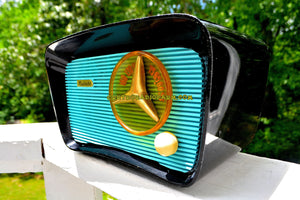 SOLD! - July 4, 2017 - SO JETSONS LOOKING Retro Vintage Aqua and Black Musicaire T-204 AM Tube Radio Works Great! - [product_type} - Musicaire - Retro Radio Farm