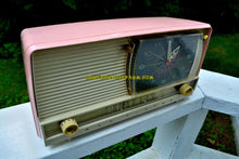 Load image into Gallery viewer, SOLD! - Mar 25, 2018 - BEAUTIFUL Powder Pink And White Retro Jetsons 1956 RCA Victor 9-C-71 Tube AM Clock Radio Works Great!