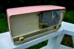 SOLD! - Mar 25, 2018 - BEAUTIFUL Powder Pink And White Retro Jetsons 1956 RCA Victor 9-C-71 Tube AM Clock Radio Works Great! - [product_type} - RCA Victor - Retro Radio Farm