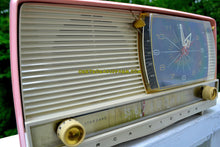 Load image into Gallery viewer, SOLD! - Mar 25, 2018 - BEAUTIFUL Powder Pink And White Retro Jetsons 1956 RCA Victor 9-C-71 Tube AM Clock Radio Works Great! - [product_type} - RCA Victor - Retro Radio Farm