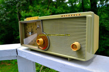 Load image into Gallery viewer, SOLD! - Sept 18, 2018 - BLUETOOTH MP3 UPGRADE ADDED - Light Olive Retro Jetsons 1960 Motorola 5C23GW Tube AM Clock Radio Rare Color and Beautiful!