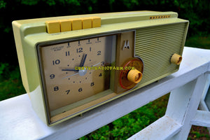 SOLD! - Sept 18, 2018 - BLUETOOTH MP3 UPGRADE ADDED - Light Olive Retro Jetsons 1960 Motorola 5C23GW Tube AM Clock Radio Rare Color and Beautiful! - [product_type} - Motorola - Retro Radio Farm