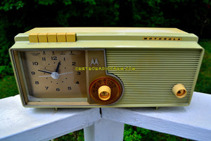 SOLD! - Sept 18, 2018 - BLUETOOTH MP3 UPGRADE ADDED - Light Olive Retro Jetsons 1960 Motorola 5C23GW Tube AM Clock Radio Rare Color and Beautiful!