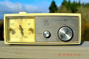 SOLD! - July 1, 2014 - Modern Jet Age Eames 1960-70's General Electric Beige Clock Radio Alarm Works! - [product_type} - General Electric - Retro Radio Farm