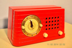 SOLD! - Feb 27, 2014 - STUNNING CARDINAL RED Bakelite 1948 Telechron Model 8H59 Clock Radio Works! , Vintage Radio - Admiral, Retro Radio Farm  - 2