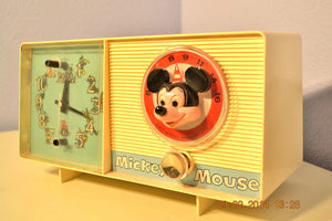 SOLD! - February 19, 2014 - MICKEY MOUSE Vintage 1960 General Electric C2419A Tube AM Radio Clock Alarm - [product_type} - Admiral - Retro Radio Farm
