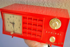 SOLD! - June 17, 2014 - LIPSTICK RED Vintage Atomic Age 1955 Admiral 5S38 Tube AM Radio Clock Alarm , Vintage Radio - Admiral, Retro Radio Farm  - 4