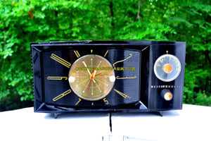 SOLD! - Sept 5, 2017 - BLACK ONYX Century Retro 1959 Westinghouse Model H-546T5A Tube AM Clock Radio Totally Restored! - [product_type} - Westinghouse - Retro Radio Farm