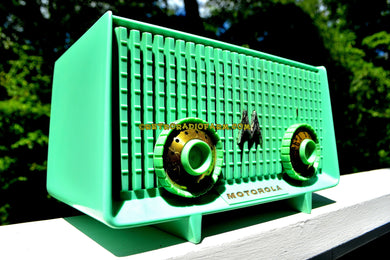 SOLD! - Dec 9, 2017 - SEA GREEN  Mid Century Vintage Motorola Model 56R Sea Green 1957 AM Tube Radio Rare! Works Great and Excellent Condition! - [product_type} - Motorola - Retro Radio Farm