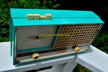 Load image into Gallery viewer, Seafoam Green Retro Space Age 1957 Sylvania Model 1306 Tube AM Clock Radio Sounds Great! - [product_type} - Sylvania - Retro Radio Farm
