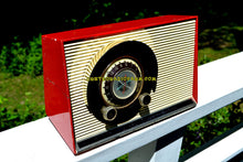 Load image into Gallery viewer, SOLD! - July 23, 2017 - WILD CHERRY RED Mid Century Sputnik Era Vintage 1957 General Electric 862 Tube AM Radio Beautiful But Distressed Condition! - [product_type} - General Electric - Retro Radio Farm