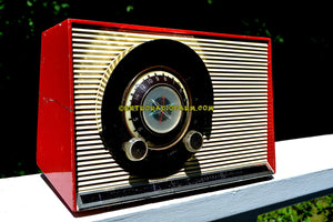 SOLD! - July 23, 2017 - WILD CHERRY RED Mid Century Sputnik Era Vintage 1957 General Electric 862 Tube AM Radio Beautiful But Distressed Condition! - [product_type} - General Electric - Retro Radio Farm