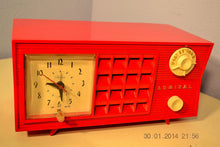 Load image into Gallery viewer, SOLD! - June 17, 2014 - LIPSTICK RED Vintage Atomic Age 1955 Admiral 5S38 Tube AM Radio Clock Alarm , Vintage Radio - Admiral, Retro Radio Farm  - 5