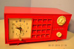SOLD! - June 17, 2014 - LIPSTICK RED Vintage Atomic Age 1955 Admiral 5S38 Tube AM Radio Clock Alarm , Vintage Radio - Admiral, Retro Radio Farm  - 5