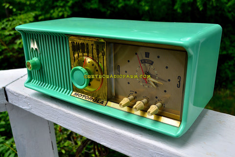 SEA GREEN Mid Century Retro Antique Jetsons 1957 Motorola 57CC Tube AM Clock Radio Totally Restored!