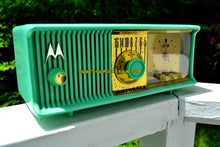 Load image into Gallery viewer, SOLD! - July 13, 2017 - SEA GREEN Mid Century Retro Antique Jetsons 1957 Motorola 57CC Tube AM Clock Radio Totally Restored! - [product_type} - Motorola - Retro Radio Farm