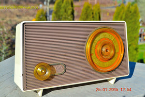SOLD! - Sept 4, 2016 - MAUVE TAN and WHITE Retro Jetsons Vintage 1958 RCA 1-RA-36 AM Tube Radio WORKS! - [product_type} - RCA Victor - Retro Radio Farm