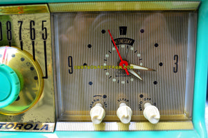SOLD! - July 13, 2017 - SEA GREEN Mid Century Retro Antique Jetsons 1957 Motorola 57CC Tube AM Clock Radio Totally Restored! - [product_type} - Motorola - Retro Radio Farm