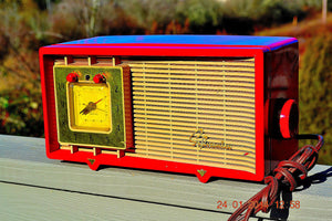 SOLD! - Feb 3, 2014 - CARDINAL RED Retro Space Age Sylvania R5485 Tube AM Clock Alarm Radio WORKS! - [product_type} - Admiral - Retro Radio Farm