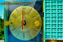 Load image into Gallery viewer, SOLD! - Sept. 29, 2014 - STUNNING AQUA BLUE Retro Jetsons 1957 Magnavox C5 Tube AM Clock Radio WORKS! , Vintage Radio - Magnavox, Retro Radio Farm  - 7