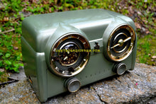 Load image into Gallery viewer, SOLD! - May 15, 2017 - PALMETTO GREEN METALLIC 1951 Crosley Model 11-125GN AM Tube Clock Radio Quality Construction Sounds Great!