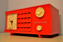 SOLD! - June 17, 2014 - LIPSTICK RED Vintage Atomic Age 1955 Admiral 5S38 Tube AM Radio Clock Alarm , Vintage Radio - Admiral, Retro Radio Farm  - 2