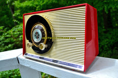 SOLD! - May 31, 2017 - WILD CHERRY RED Mid Century Sputnik Era Vintage 1957 General Electric 862 Tube AM Radio Beautiful!