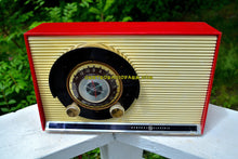 Load image into Gallery viewer, SOLD! - May 31, 2017 - WILD CHERRY RED Mid Century Sputnik Era Vintage 1957 General Electric 862 Tube AM Radio Beautiful! - [product_type} - General Electric - Retro Radio Farm