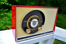 Load image into Gallery viewer, SOLD! - May 31, 2017 - WILD CHERRY RED Mid Century Sputnik Era Vintage 1957 General Electric 862 Tube AM Radio Beautiful!