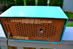 SOLD! - April 8, 2014 - TURQUOISE Atomic Retro Vintage 1956 RCA Victor 6-C-5 Tube AM Clock Radio WORKS! , Vintage Radio - RCA Victor, Retro Radio Farm  - 7
