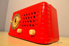 SOLD! - Feb 27, 2014 - STUNNING CARDINAL RED Bakelite 1948 Telechron Model 8H59 Clock Radio Works! , Vintage Radio - Admiral, Retro Radio Farm  - 6