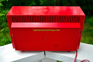 SOLD! - May 31, 2017 - WILD CHERRY RED Mid Century Sputnik Era Vintage 1957 General Electric 862 Tube AM Radio Beautiful! - [product_type} - General Electric - Retro Radio Farm