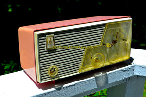 SOLD! - June 18, 2017 - CAMEO PINK Mid Century Vintage Retro 1958 Emerson Tube AM Clock Radio Sounds Great!