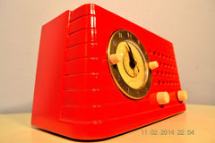 SOLD! - Feb 27, 2014 - STUNNING CARDINAL RED Bakelite 1948 Telechron Model 8H59 Clock Radio Works! , Vintage Radio - Admiral, Retro Radio Farm  - 5