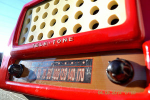 SOLD! May 28, 2014 - FIRE ENGINE RED Rare Art Deco Retro 1947-49 TELE TONE AM Tube Radio Works! Wow! , Vintage Radio - Teletone, Retro Radio Farm  - 8