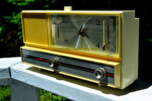 SOLD! - June 26, 2016 - PASTEL YELLOW Mid Century Retro 1964 Silvertone Model 4044 AM Clock Radio Totally Restored! - [product_type} - Silvertone - Retro Radio Farm