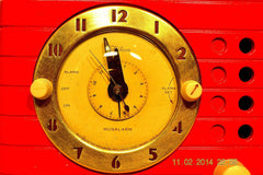 SOLD! - Feb 27, 2014 - STUNNING CARDINAL RED Bakelite 1948 Telechron Model 8H59 Clock Radio Works! , Vintage Radio - Admiral, Retro Radio Farm  - 11
